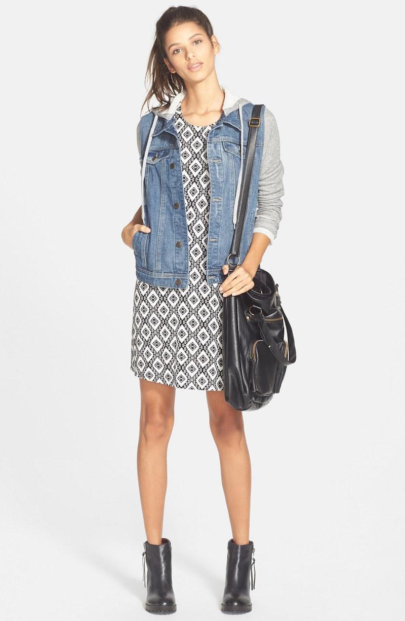 Thread & Supply Hooded Denim Jacket with Fleece Sleeves