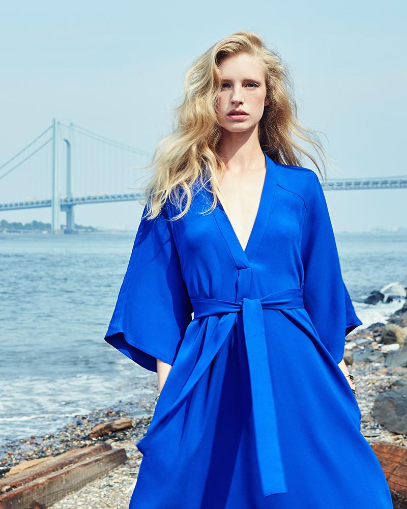 Tome Cobalt Blue Silk Crepe V Neck Dress