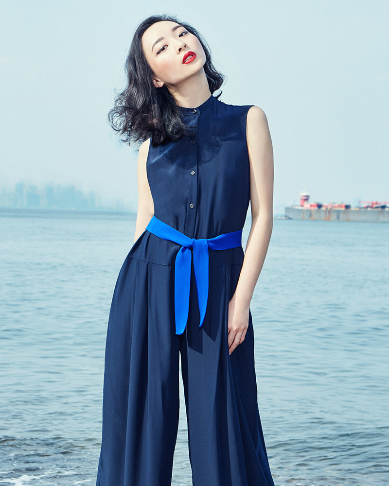Tome Navy Silk Charmeuse Romper