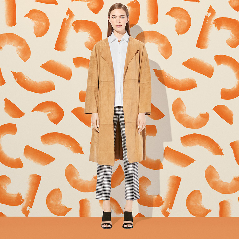 Tomorrowland Lambskin Suede Draped Coat