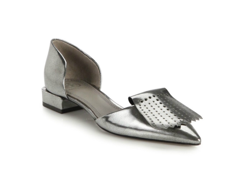 Tory Burch Hyde Metallic Leather Perforated Fringe Flats