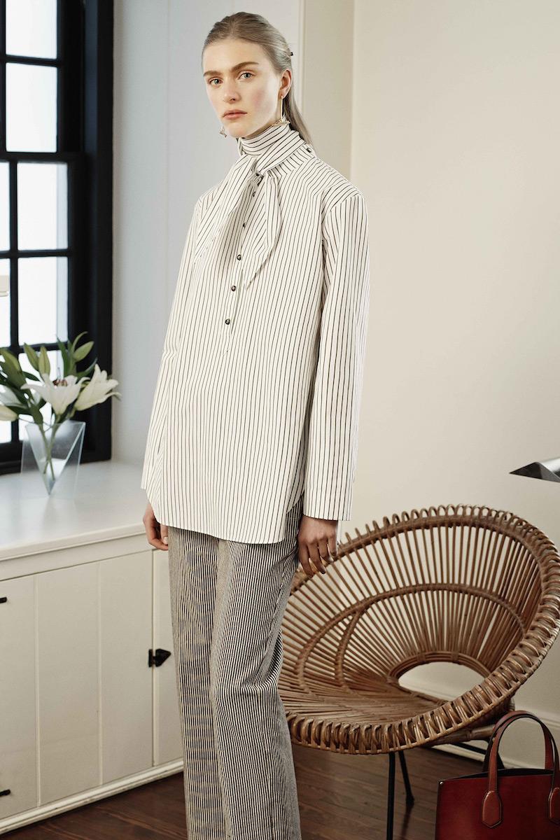 Trademark Tie-neck Striped Cotton Shirt
