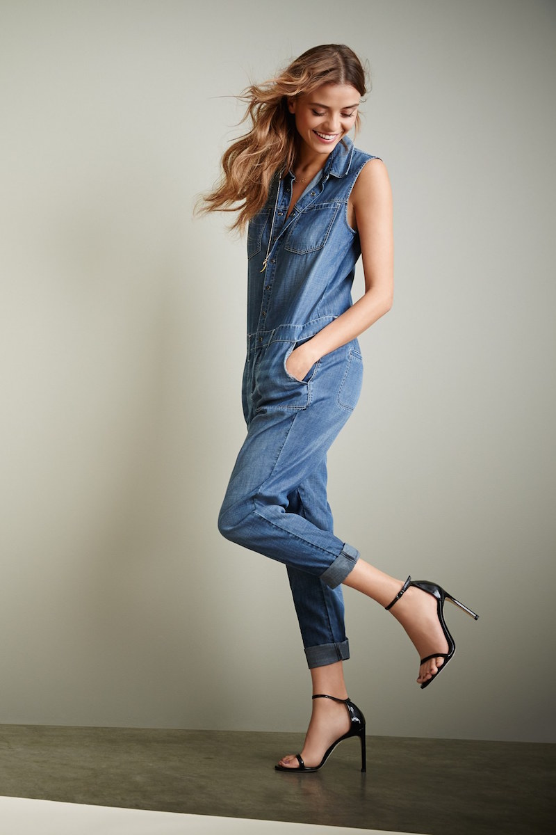 Treasure&Bond Sleeveless Workwear Denim Jumpsuit
