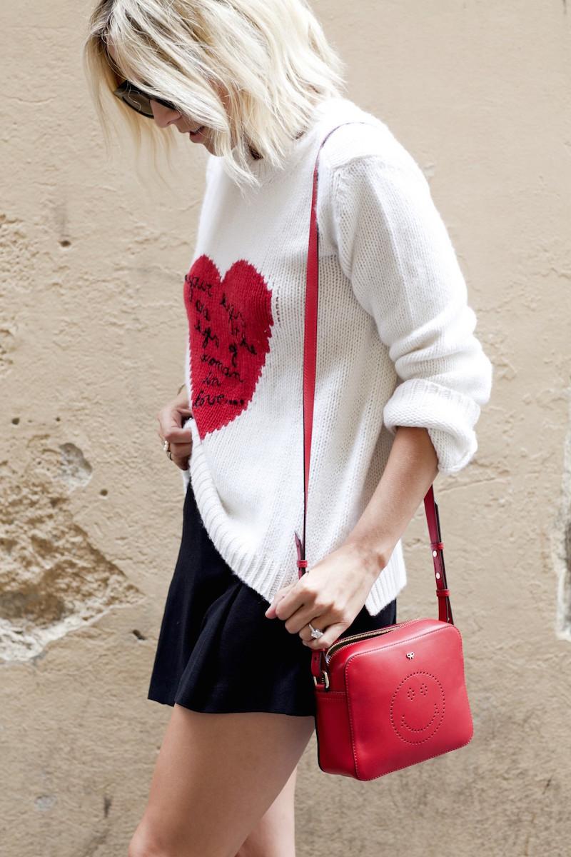 Valentino Heart Intarsia Cashmere Sweater