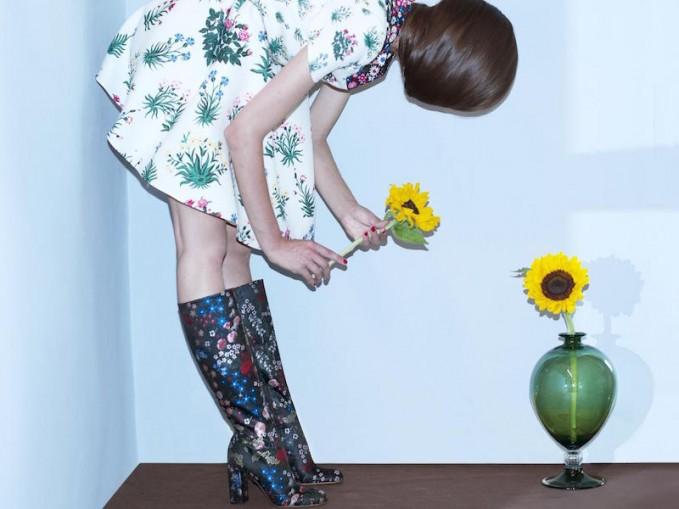 Valentino Primavera‑print Wool and Silk‑blend Dress