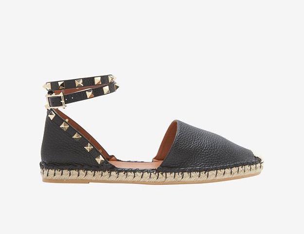 Valentino Rockstud Ankle Strap Flat Espadrilles