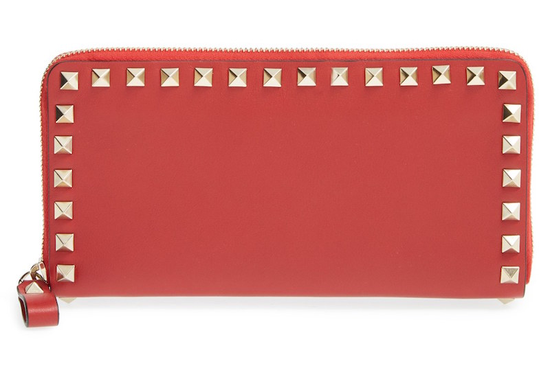 Valentino Rockstud Continental Wallet in Red