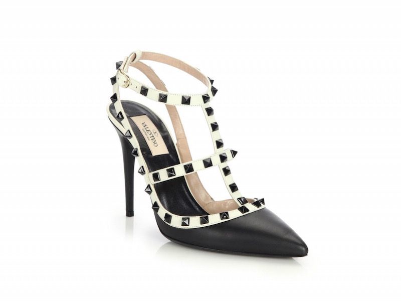Valentino Rockstud Leather Colorblock Pumps