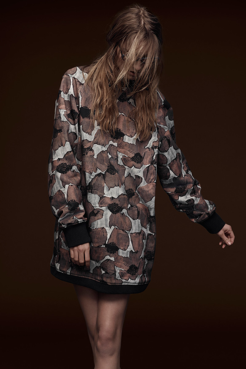 Vera Wang Collection Poppy Print Sweatshirt Dress