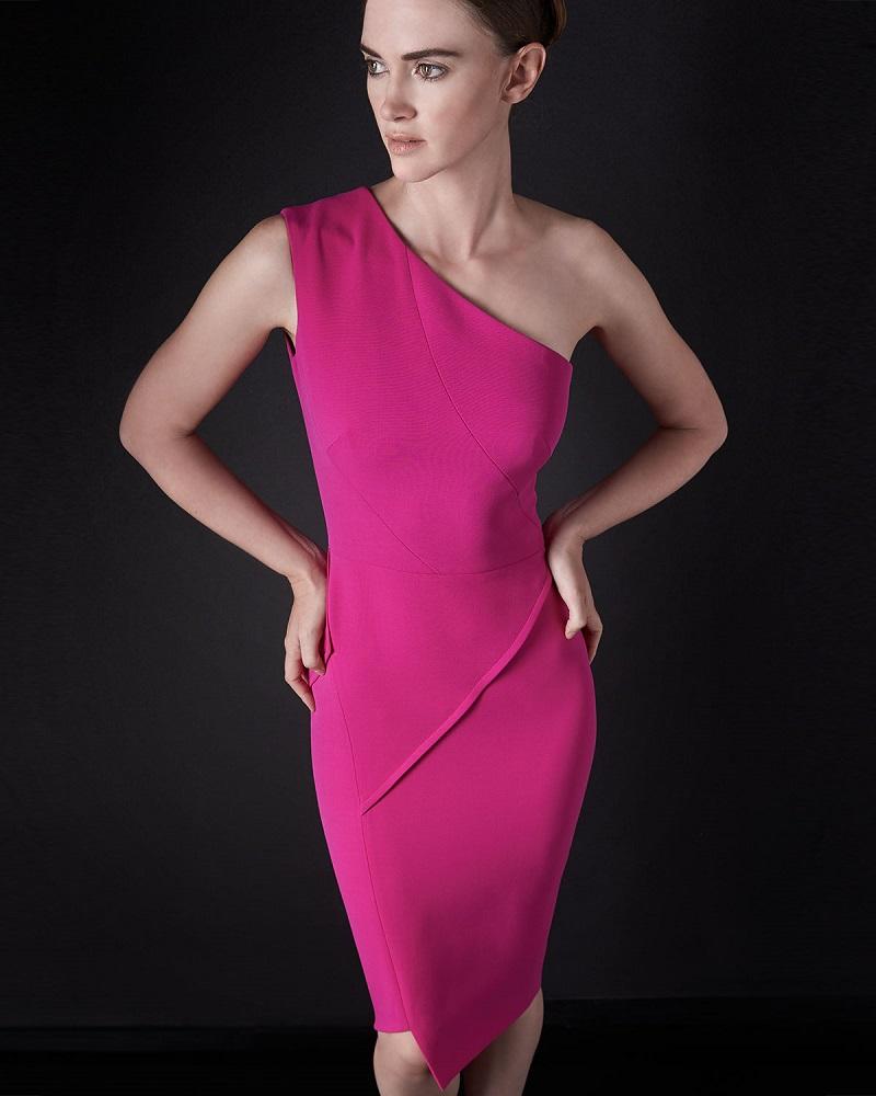 Victoria Beckham One-Shoulder Asymmetric Seamed Sheath Dress