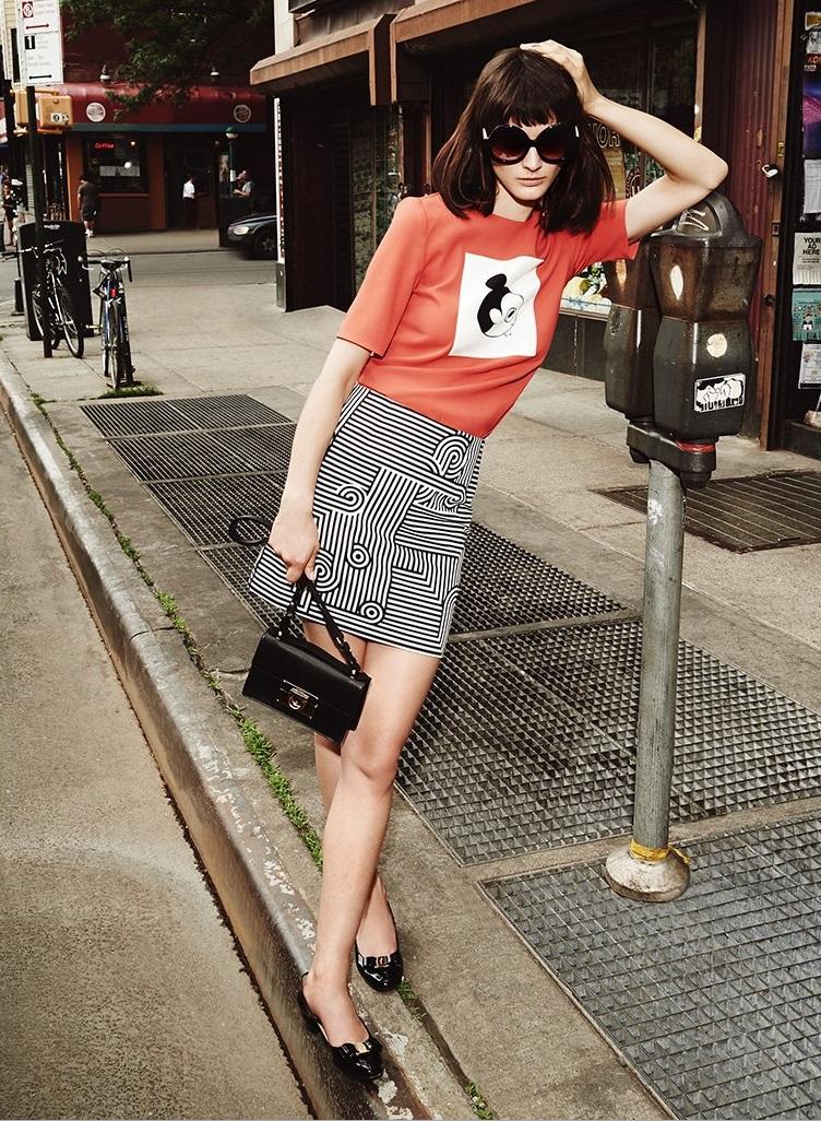 Victoria Victoria Beckham Graphic Stripe Miniskirt