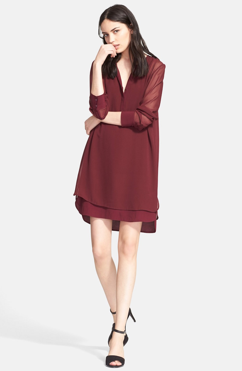 Vince Double Layer Shirtdress
