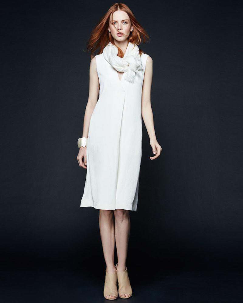 Vince V-Neck A-Line Crepe Dress