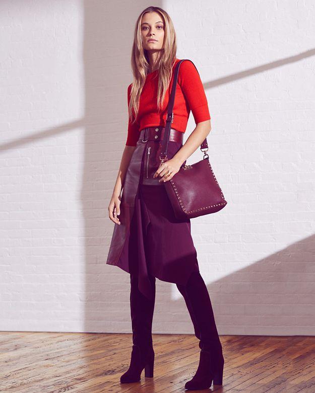 3.1 Phillip Lim LeatherWool Midi Skirt