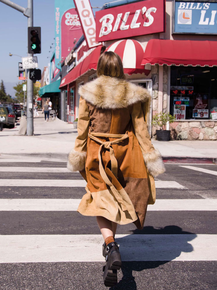 ASOS Coat in Suede with Faux Fur Collar