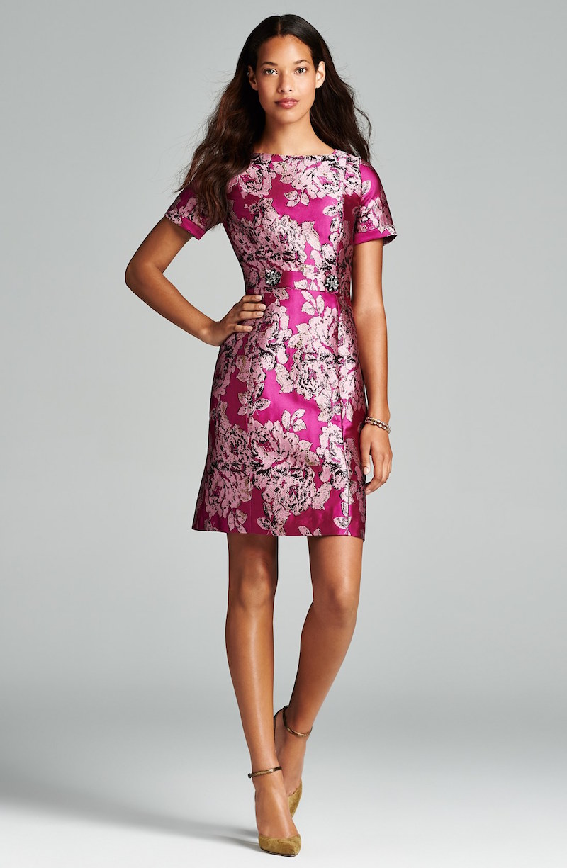 Adrianna Papell Embellished Jacquard Sheath Dress