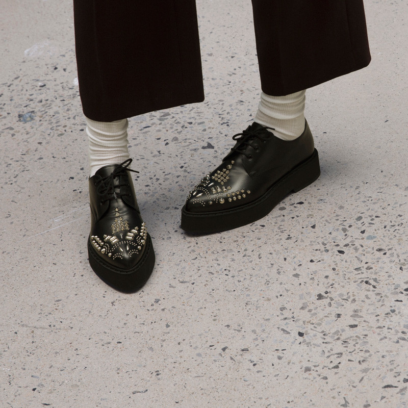 Alexander McQueen Black Studded Platform Derbys