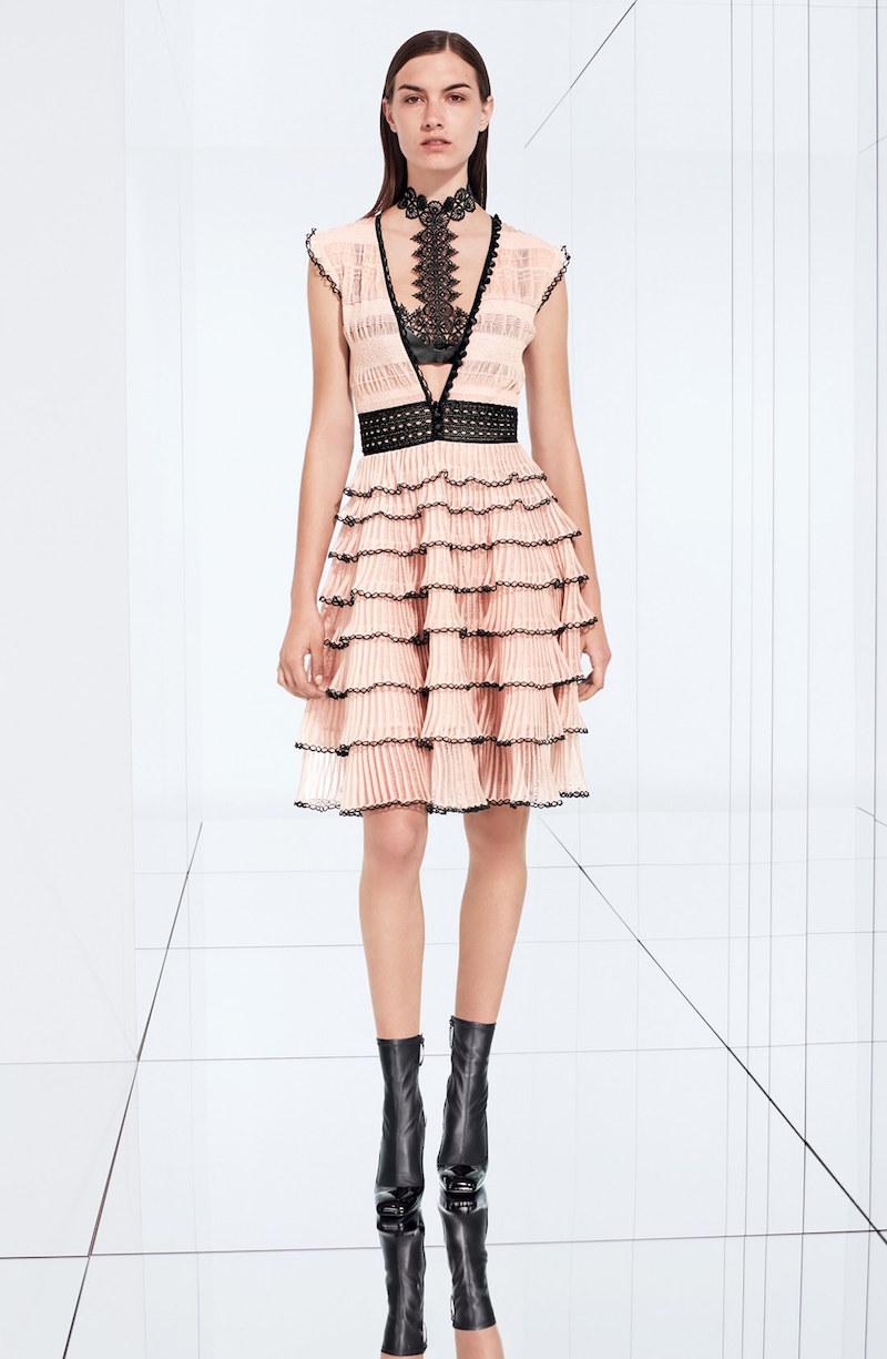 Alexander McQueen Tiered V-Neck Dress