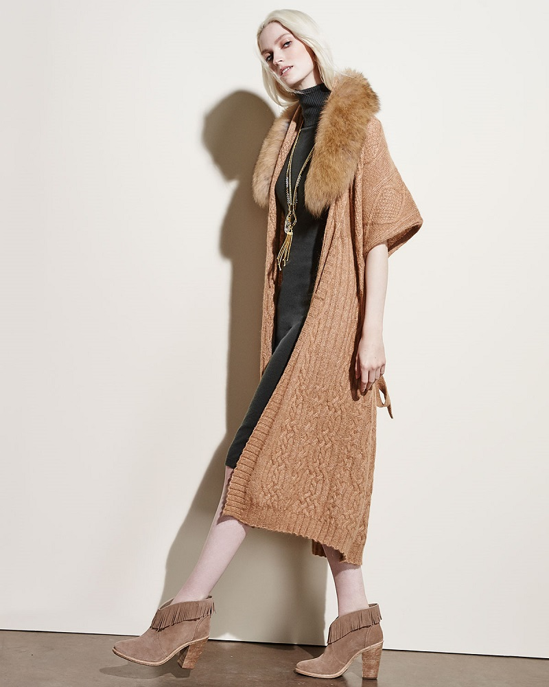 Alice + Olivia Klay Long Cable-Knit Cardigan WDetachable Fur Collar
