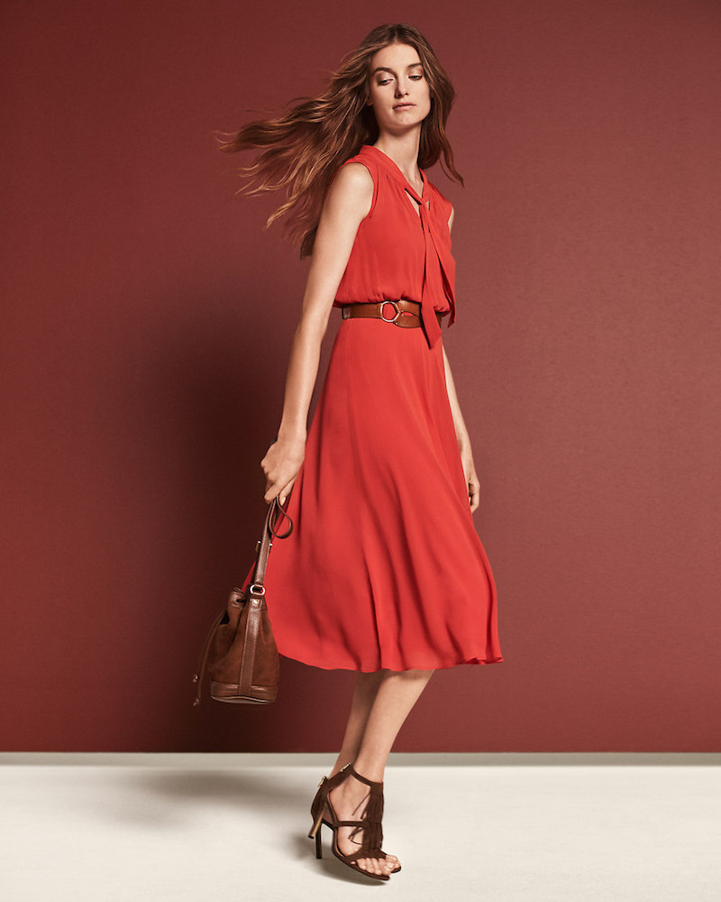 Ann Taylor Chiffon Tie Neck Midi Dress