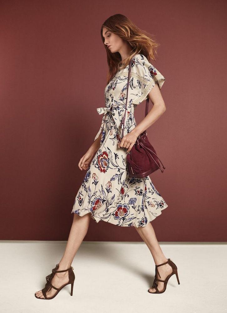 Ann Taylor Floral Lace Trim Midi Dress