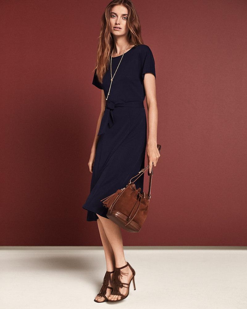 Ann Taylor Matte Jersey Belted Midi Dress