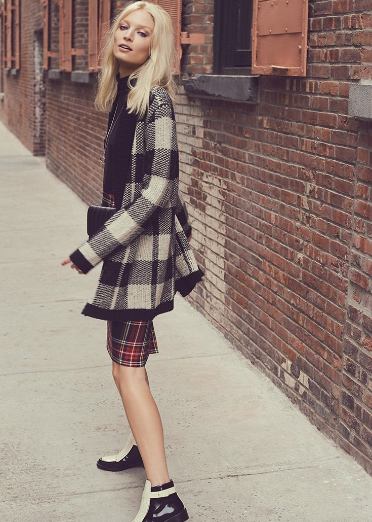 BB Dakota Jalen Plaid Cardigan