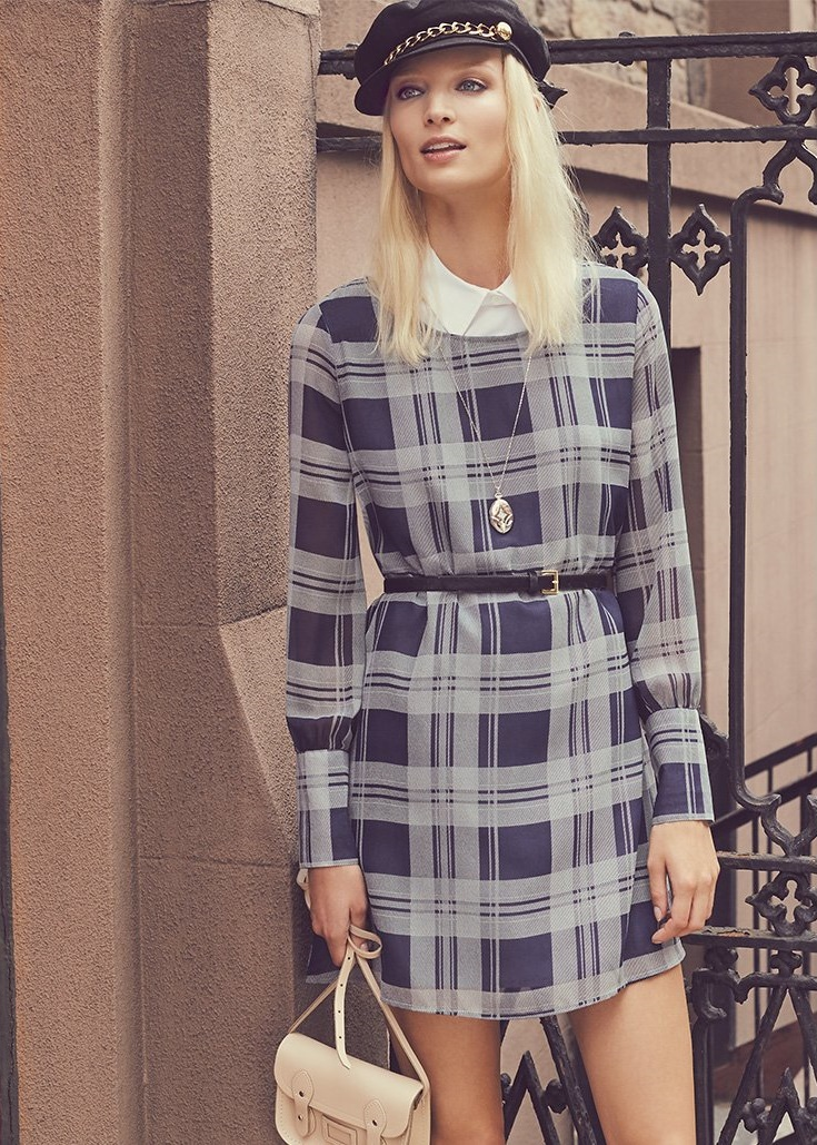 BB Dakota Manning Plaid Printed Dress