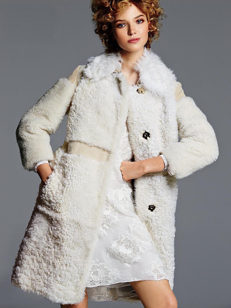 Burberry Prorsum Shearling Patchwork Coat