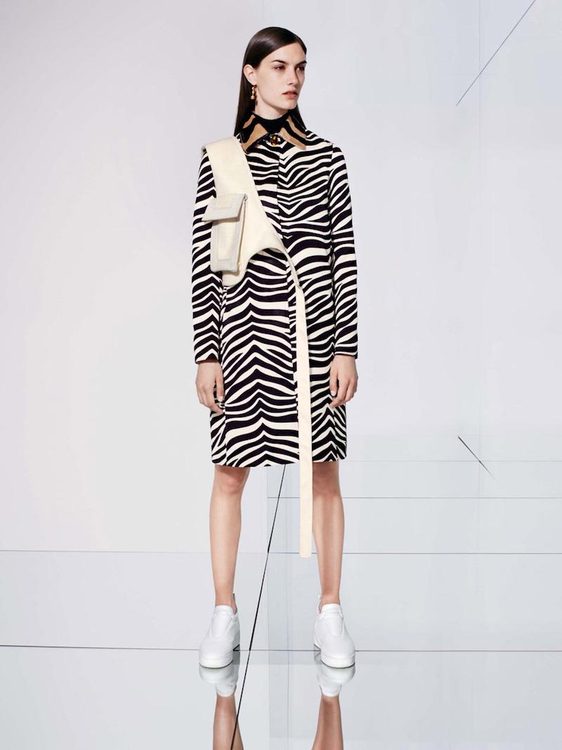 CÉLINE Zebra-print Technical Duchesse Coat