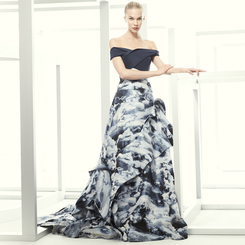 Carolina Herrera Cloud Jacquard Asymmetric Ruffle Gown