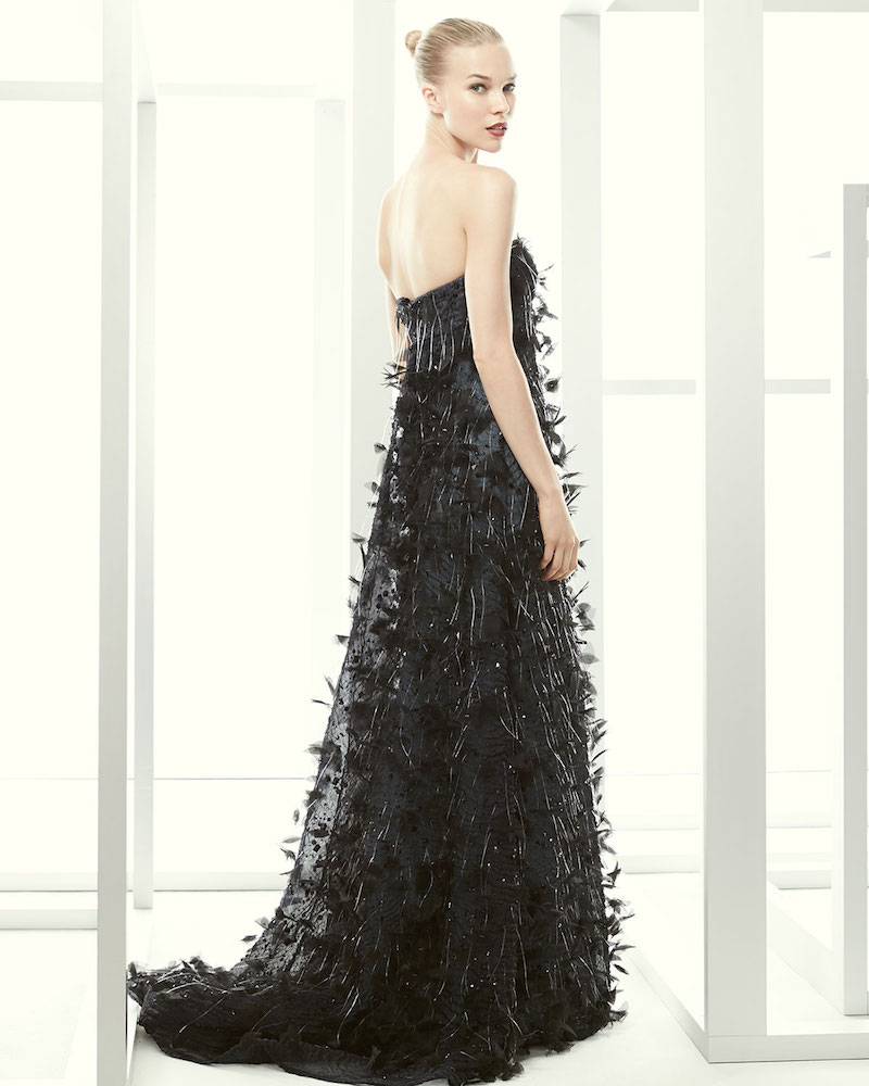 Carolina Herrera Strapless Feathered Fringe-Trimmed Gown