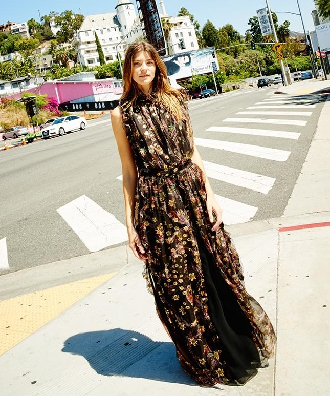Chloé Paisley and star ruffled gown