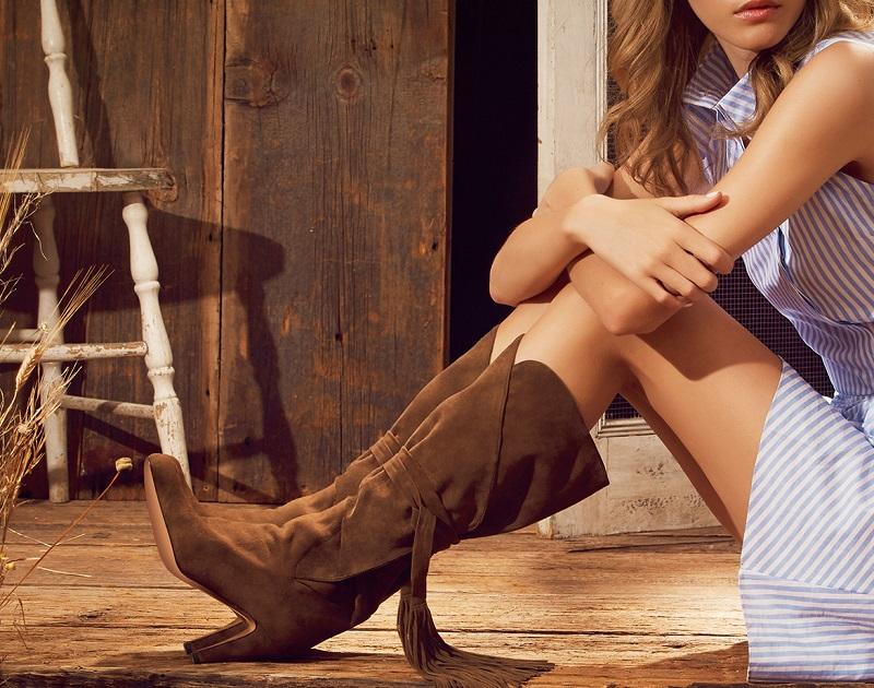 Chloé Suede Tasseled Wrap Knee Boots