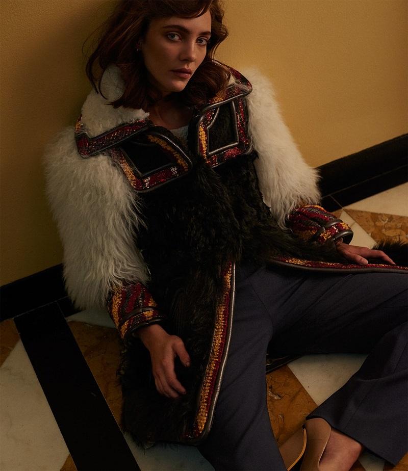 Chloé Tapestry & Shearling Coat