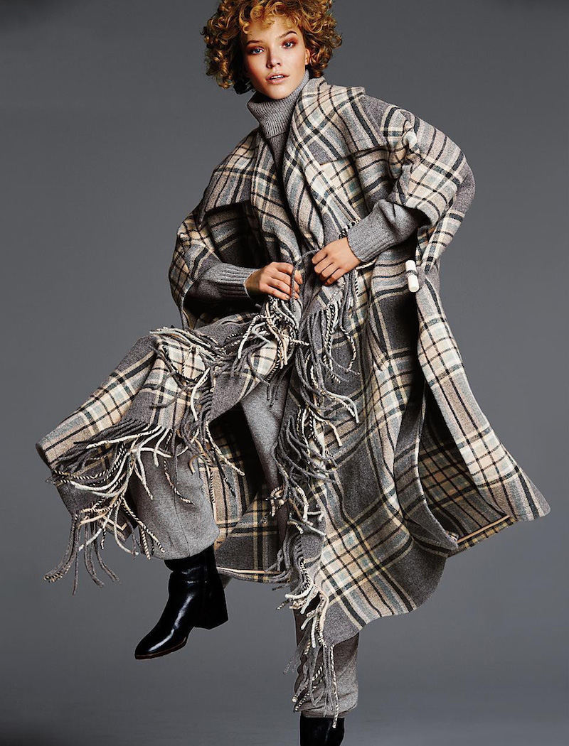 Chloé Blanket Check Fringe-Trim Coat
