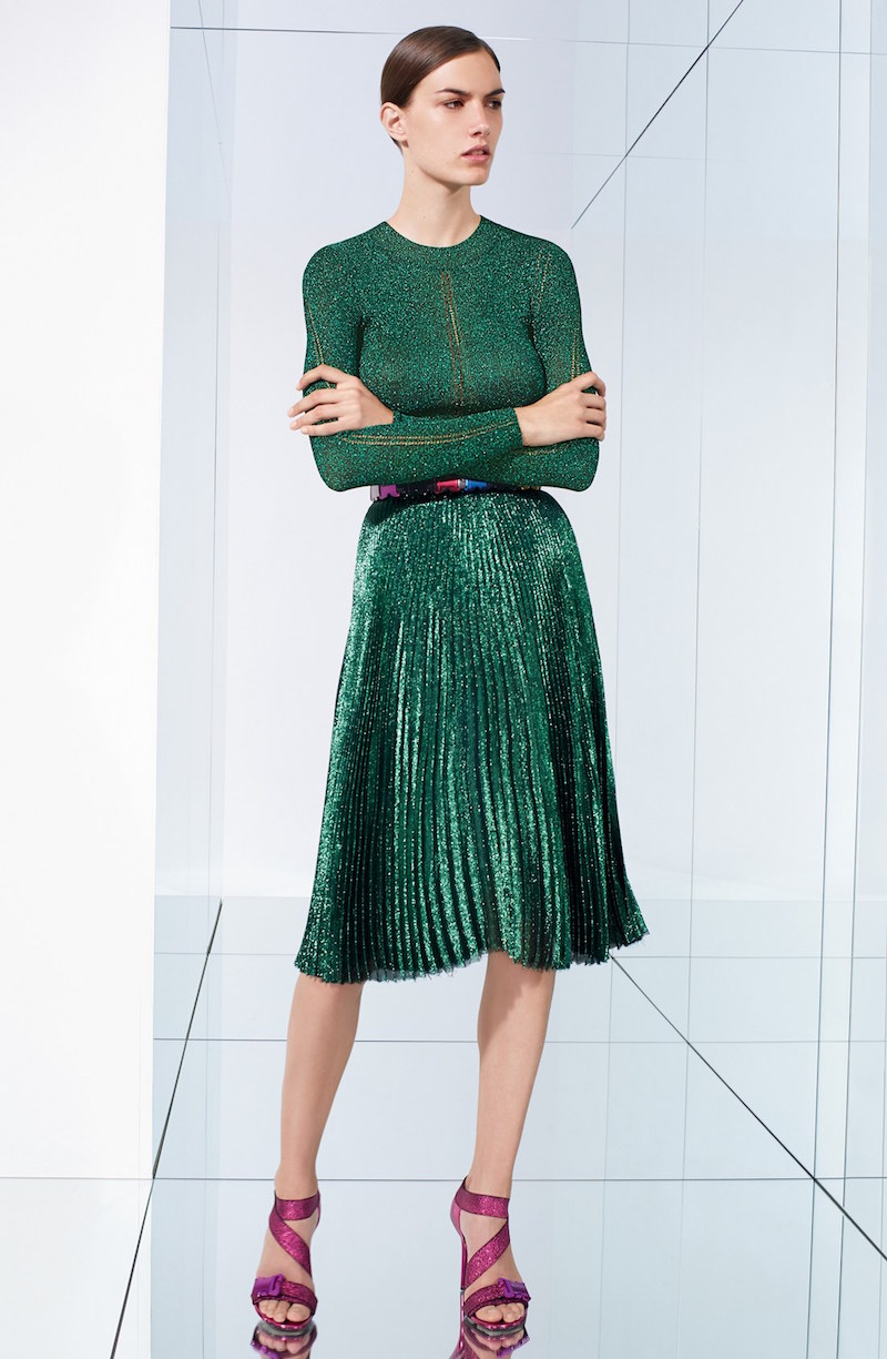 Christopher Kane Lamé Pleated Midi Skirt