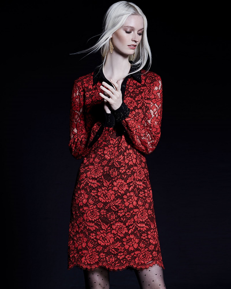Diane von Furstenberg Long-Sleeve Floral Lace Shirtdress
