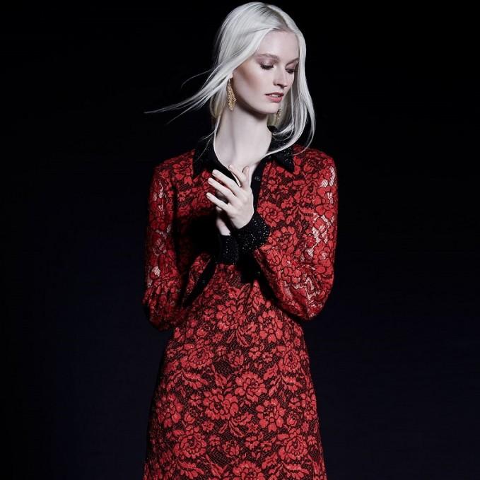 Diane von Furstenberg Long-Sleeve Floral Lace Shirtdress