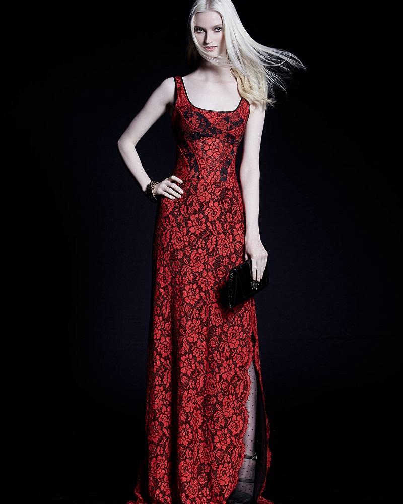 Diane von Furstenberg Sleeveless Floral Lace Gown