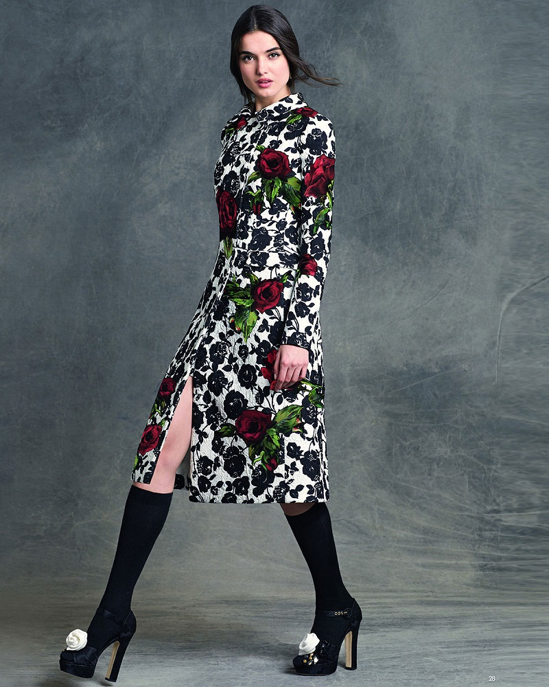 Dolce & Gabbana Double-Breasted Floral-Print Coat