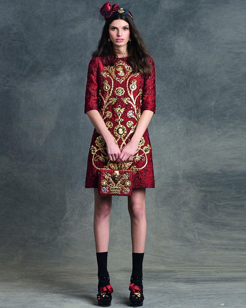 Dolce & Gabbana Elbow-Sleeve Embellished Cameo Dress