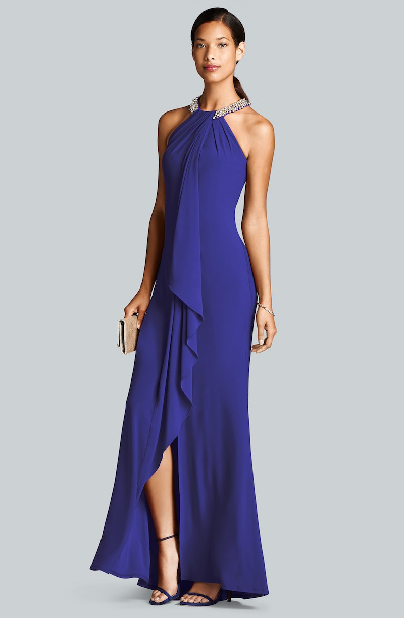 Eliza J Beaded Neck Jersey Gown