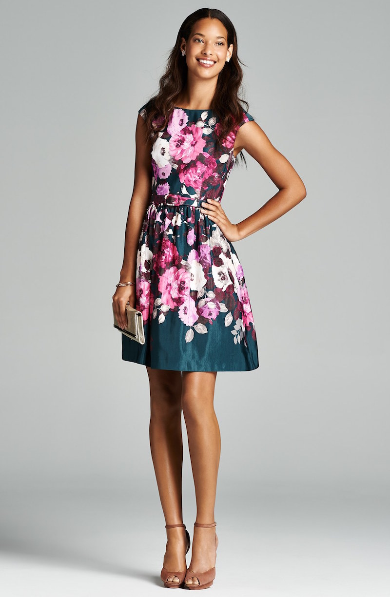 Editorial wedding guest dresses by color nawo for Floral print dresses for weddings