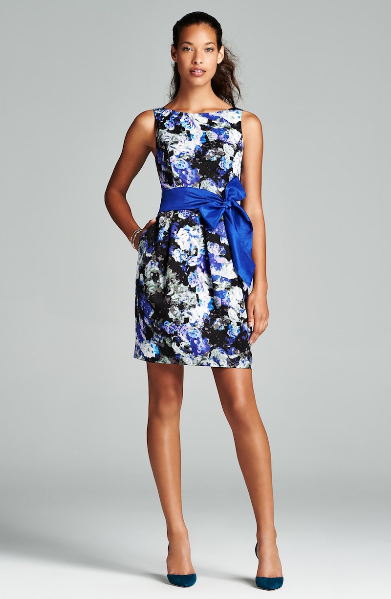 Eliza J Floral Print Faille Fit & Flare Dress