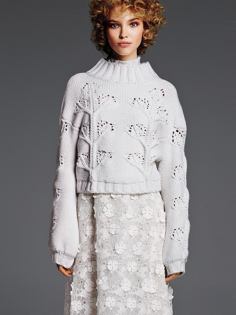 GIAMBA Floral Turtleneck Sweater