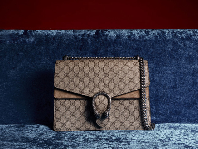GUCCI Dionysus GG Supreme Coated Canvas and Suede Shoulder Bag