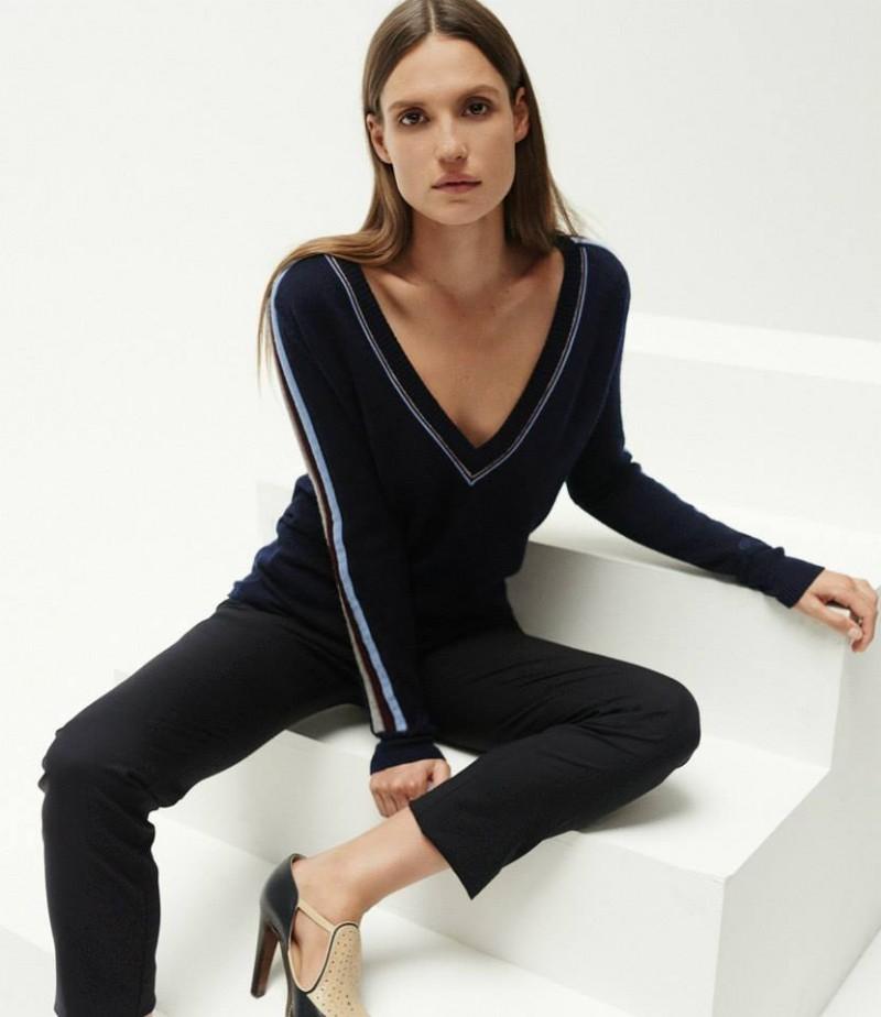 Gabriela Hearst Tubular Striped V-Neck Sweater