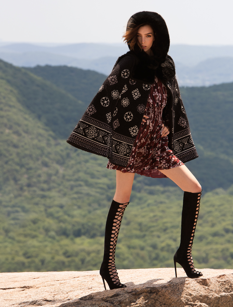 Giamba Faux Fur Hooded Cape