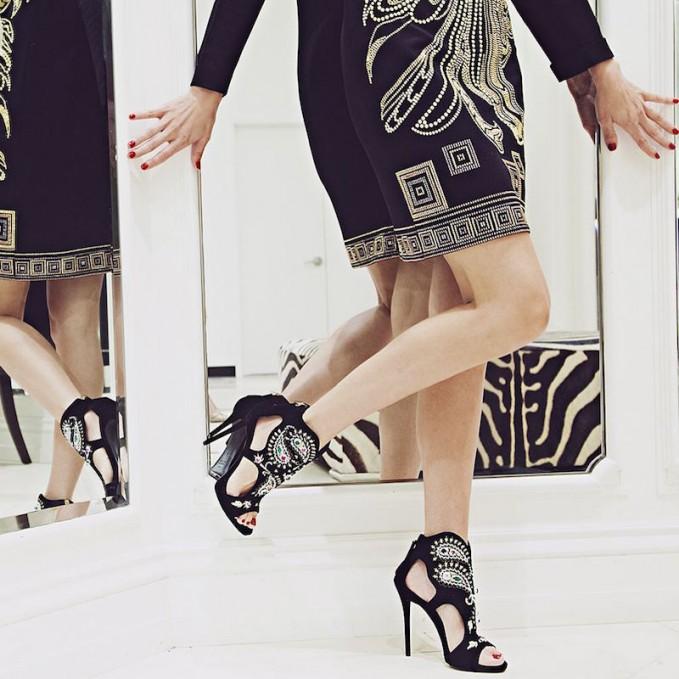 Giuseppe Zanotti Pearl & Gem-Embellished Embroidered Velvet Sandals